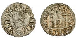 246  -  REINOS DE CASTILLA Y LEÓN. SANCHO IV. Cornado. Burgos. Marca B-* y * en corona. VE 0,79 g. 19,11 mm. III-296. BMM-427.1. Pequeñas perforaciones. EBC.