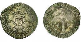 253  -  CORONA DE ARAGÓN. ALFONSO EL MAGNÁNIMO  (1416-1458). Real. Valencia. ARAGO y SAR al final de las leyendas. AR 3,11 g. 25 mm. IV-864.2. MBC-/BC+.