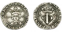 254  -  CORONA DE ARAGÓN. ALFONSO EL MAGNÁNIMO  (1416-1458). Real. Valencia. ARAGO y SAR al final de las leyendas. AR 2,48 g. 22,99 mm. IV-864.2. MBC/MBC-.