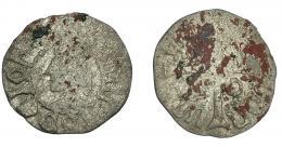 257  -  CORONA DE ARAGÓN. JUAN EL GRANDE (1458-1479). Dinero. Cerdeña. AR 0,67 g. 15,83 mm. IV-986. BC-.
