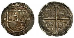 263  -  FELIPE II. 4 reales. S/F. Sevilla. Marca de ensayador Melchor Damián. AC-576. Encapsulada. NGC-AU55. MBC+.