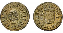 273  -  FELIPE IV. 16 maravedís. 1662. Madrid. I/S. AC-472. MBC-. Escasa.