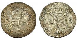 276  -  CARLOS II. Patagón. 1685. Bruselas. DEL-343. DAV-4491. Fina grieta. MBC-.