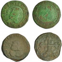 279  -  CARLOS DE AUSTRIA, PRETENDIENTE (Carlos VI de Austria). Lote de 2 bronces de Cerdeña. RC/BC-.