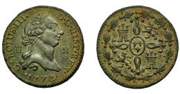 280  -  CARLOS III. 2 maravedís. 1773. Segovia. VI-29. MBC-. Muy escasa.
