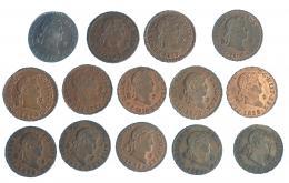 281  -  FERNANDO VII. Colección completa de 2 maravedís de Segovia, sin el error VII (1816-1833). Total 14 piezas, 8 de ellas con BO o RBO.
