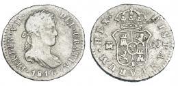 282  -  FERNANDO VII. 1/2 real. 1816. Madrid. GJ. VI-348. Hojitas en el rev. BC+.