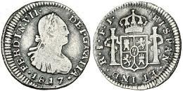 283  -  FERNANDO VII. 1/2 real. 1817. Santiago. FJ. VI-412. MBC-. Escasa.