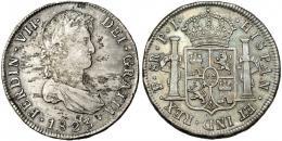 286  -  FERNANDO VII. 8 reales. 1823. Potosí. PJ. VI-1144. Manchas y hojita en el anv. MBC/EBC-.
