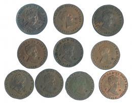 287  -  ISABEL II. Lote de 10 monedas de 2 maravedís de Segovia (1838-1850), 7 de ellas con RBO. De MBC- a SC.