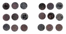 288  -  ISABEL II. Lote de 9 monedas de 8 maravedís. Jubia (1846, 1848 -2- y 1840), Segovia (1837, 1838 -2-, 1841 y 1848). DE BC+ a MBC-.
