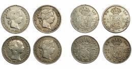 289  -  ISABEL II. Lote de 4 monedas de 1 real: Madrid (1857 y 1859); Sevilla (1852) y Barcelona (1860). De MBC- a MBC+.