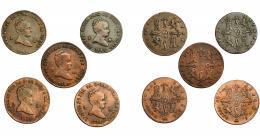 290  -  ISABEL II. Lote de 5 monedas de 2 maravedís de Segovia: 1838 (2), 1842, 1843 y 1847. De BC a MBC-.
