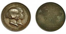 291  -  ISABEL II. Medalla. 1858. Inauguración del Canal de Lozoya. Firma BOUVET. AE 26,3 mm. MPN-695. EBC-.
