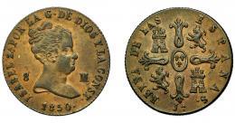 294  -  ISABEL II. 8 maravedís. 1850. Jubia. VI-81. MBC-.