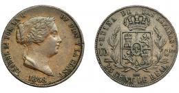 295  -  ISABEL II. 25 céntimos de real. 1858. Segovia. VI-149. MBC.