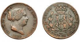 296  -  ISABEL II. 25 céntimos de real. 1859. Segovia. VI-150. MBC-.
