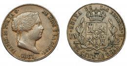 297  -  ISABEL II. 25 céntimos de real. 1861. Segovia. VI-152. Rayitas en anv. MBC.