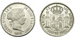 298  -  ISABEL II. 50 centavos de peso. 1868. Manila. MBC.