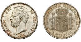 299  -  AMADEO I. 5 pesetas. 1871*18-71. Madrid. SDM. VII-32. AC-1. MBC+/EBC-.