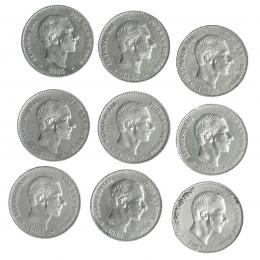 300  -  ALFONSO XII. Lote de 9 monedas de 50 centavos de peso. 1885. Manila. MBC/MBC+.