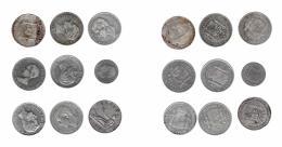 301  -  ALFONSO XII. Lote de 9 monedas: 5 pesetas (8) y 2 pesetas (1). Gobierno Provisional (1), Amadeo I (1), Alfonso XII (5), Alfonso XIII (2). De BC+ a MBC-.