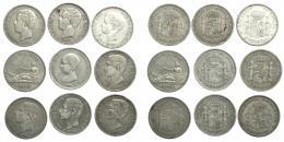 302  -  ALFONSO XII. Lote de 9 monedas de 5 pesetas: Gobierno Provisional (1), Amadeo I (2), Alfonso XII (4) y Alfonso XIII (2). De MBC- a MBC.