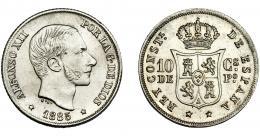 303  -  ALFONSO XII. 10 centavos de peso. 1885. Manila. VII-56. EBC.