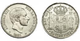 304  -  ALFONSO XII. 50 centavos de peso. 1881. Manila. VII-75. MBC.