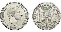 305  -  ALFONSO XII. 50 centavos de peso. 1882. Manila. VII-77. MBC.