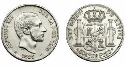 306  -  ALFONSO XII. 50 centavos de peso. 1885. Manila. VII-80. EBC-.
