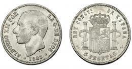 307  -  ALFONSO XII. 5 pesetas. 1885. Falso de época en plata. Madrid. PGL. Rayitas. Golpes en canto. Hoja. MBC.