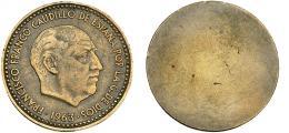 309  -  FRANCISCO FRANCO. 1 peseta. 1963. Sin reverso. Publicada en Gaceta Numismática, 135, XII-1999. MBC.
