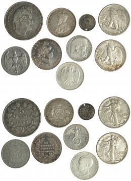 313  -  MONEDAS EXTRANJERAS. Lote de 8 monedas y 1 medalla: 1 florín Australia, 3 chelines Inglaterra, 20 dinara de Yugoslavia, medio dólar de Estados Unidos (2), 5 francos de Luis Felipe I, una moneda de Luis XV, 3 marcos de la República de Weimar, y 1 moneda de Alemania de 1939. MBC-/EBC.