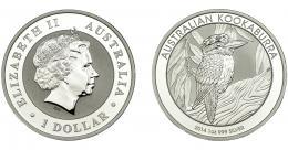 314  -  MONEDAS EXTRANJERAS. AUSTRALIA. 1 Dólar. Kookaburra. 2014. Prueba.