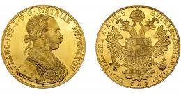 315  -  MONEDAS EXTRANJERAS. AUSTRIA. 4 ducados. Francisco José I. 1915. Reacuñación oficial.  FR-488. KM-2276. SC. Brillo original.