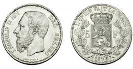 316  -  MONEDAS EXTRANJERAS. BÉLGICA. Leopoldo II. 5 francos. 1873. MBC+/EBC-.
