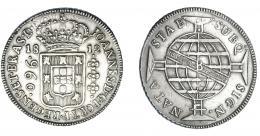 317  -  MONEDAS EXTRANJERAS. BRASIL. 960 Reis. 1812 (B). Reacuñados sobre 8 reales de Carlos IV. KM-307.1. MBC.