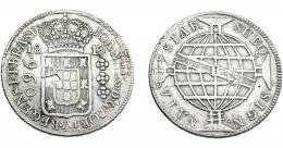 318  -  MONEDAS EXTRANJERAS. BRASIL. 960 Reis. 1813 (B). Reacuñados sobre 8 reales de Carlos IV. KM-307.1. MBC-.