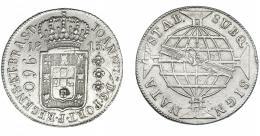 319  -  MONEDAS EXTRANJERAS. BRASIL. 960 Reis. 1815 (R). Reacuñados sobre 8 reales de Fernando VII de México (HJ). KM-307.3. Rayita en anv. MBC.