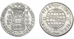 321  -  MONEDAS EXTRANJERAS. BRASIL. 960 Reis. 1816 (B). Reacuñados sobre 8 reales de Carlos III de Potosí (JR). KM-307.1. MBC+.