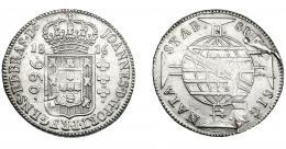 322  -  MONEDAS EXTRANJERAS. BRASIL. 960 Reis. 1816 (B). Reacuñados sobre 8 reales de Carlos IV, posiblemente de México (TH). KM-307.1. Defecto de acuñación. MBC/MBC-.