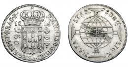 323  -  MONEDAS EXTRANJERAS. BRASIL. 960 Reis. 1816 (B). Reacuñados sobre 8 reales, sin datos visibles. MBC.