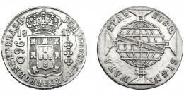 324  -  MONEDAS EXTRANJERAS. BRASIL. 960 Reis. 1817 (R). Reacuñados sobre 8 reales de Carlos IV, posiblemente de México. KM-307.3. MBC.