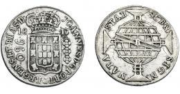 325  -  MONEDAS EXTRANJERAS. BRASIL. 960 Reis. 1817 (R). Reacuñados sobre 8 reales de Carlos IV de México (FT). KM-307.3. MBC-.