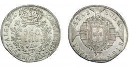 326  -  MONEDAS EXTRANJERAS. BRASIL. 960 Reis. 1818 (R). Reacuñados sobre 8 reales, sin datos visibles. KM-326.1. MBC.