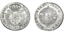 327  -  MONEDAS EXTRANJERAS. BRASIL. 960 Reis. 1818 (R). Reacuñados sobre 8 reales de Carlos III de Lima (MI). KM-326.1. MBC.