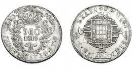 328  -  MONEDAS EXTRANJERAS. BRASIL. 960 Reis. 1819 (R). Reacuñados sobre 8 reales de Carlos IV de Lima (JP). Nombre y ordinal del rey completos. KM-326.1. MBC-.