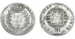 329  -  MONEDAS EXTRANJERAS. BRASIL. 960 Reis. 1819 (R). Reacuñados sobre 8 reales de Fernando VII de Lima (JP). KM-326.1. MBC-.