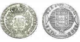 330  -  MONEDAS EXTRANJERAS. BRASIL. 960 Reis. 1820 (R). Reacuñados sobre 8 reales de Fernando VII de Lima (JP). KM-326.1. MBC.